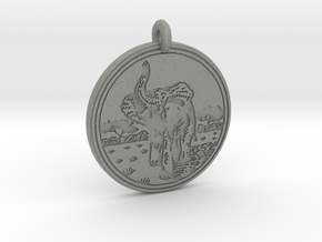 African Elephant Animal Totem Pendant in Gray PA12