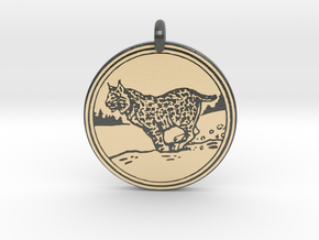 Bobcat Animal Totem Pendant in Glossy Full Color Sandstone