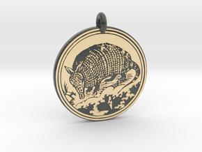 Armadillo  Animal Totem Pendant in Glossy Full Color Sandstone