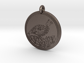 Bobwhite Animal Totem Pendant in Polished Bronzed-Silver Steel