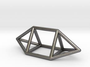 0755 J14 Elongated Triangular Bpyramid (a=1cm) #1 in Polished Nickel Steel