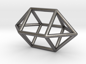 0758 J15 Elongated Square Dipyramid (a=1cm) #1 in Polished Nickel Steel