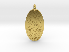 Celtic Cross - Oval Pendant in Polished Brass