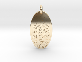 Celtic Cross - Oval Pendant in 14k Gold Plated Brass