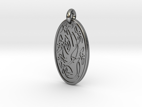 Sacred Tree/Tree of Life - Oval Pendant in Polished Silver