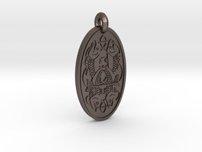 Fish - Oval Pendant in Polished Bronzed-Silver Steel