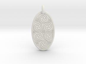 Spirals - Oval Pendant in White Natural Versatile Plastic