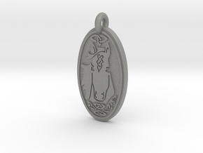 Horse - Oval Pendant in Gray PA12