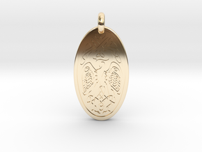 Birds - Oval Pendant in 14k Gold Plated Brass