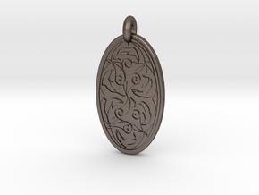 Nehalennia - Oval Pendant in Polished Bronzed-Silver Steel