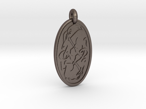Hare - Oval Pendant in Polished Bronzed-Silver Steel