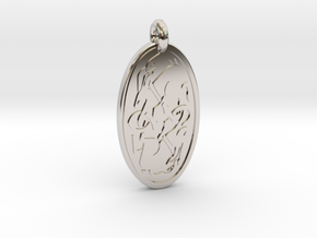 Hare - Oval Pendant in Rhodium Plated Brass