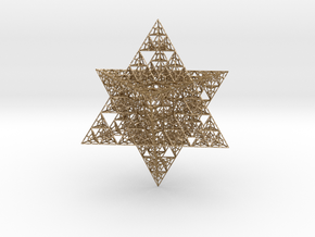Sierpinski Merkaba V  in Polished Gold Steel