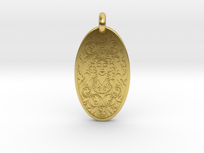 Brigantia - Oval Pendant in Polished Brass