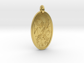 Dragon - Oval Pendant in Polished Brass