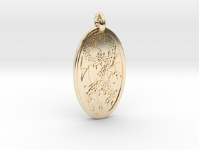 Dragon - Oval Pendant in 14K Yellow Gold
