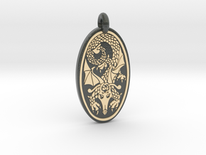 Dragon - Oval Pendant in Glossy Full Color Sandstone