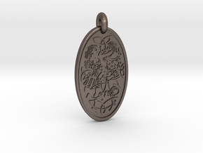 Divine Couple - Round Pendant in Polished Bronzed-Silver Steel