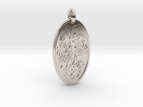Divine Couple - Round Pendant in Rhodium Plated Brass