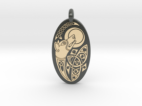 Dog - Oval Pendant in Glossy Full Color Sandstone
