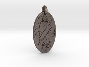 Heart - Oval Pendant in Polished Bronzed-Silver Steel