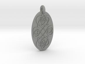 Heart - Oval Pendant in Gray Professional Plastic