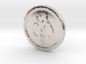 Star wars Sabacc Solo Mandalorian Bounty coin cred in Rhodium Plated Brass