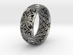 Java Ring Kawong Double Pattern in Polished Silver