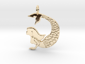 Mermaid pendant necklace in 14k Gold Plated Brass