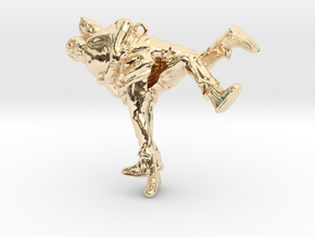 Swiss wrestling - 50mm high in 14k Gold Plated Brass