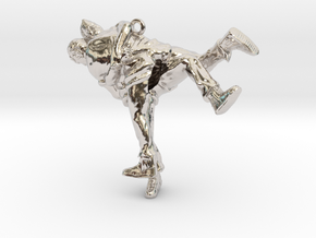 Swiss wrestling - 40mm high in Rhodium Plated Brass
