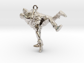 Swiss wrestling - 30mm high in Rhodium Plated Brass