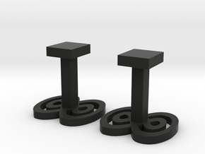 Infinity cufflinks in Black Natural Versatile Plastic