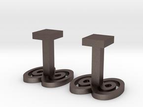 Infinity cufflinks in Polished Bronzed-Silver Steel