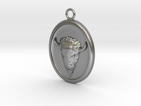 Buffalo Pendant Necklace in Natural Silver