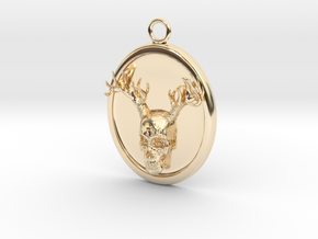 Antler Skull Necklace in 14K Yellow Gold