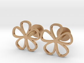 Floral cufflinks in Natural Bronze