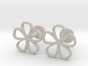 Floral cufflinks in Natural Sandstone