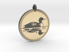 Common Loon Animal Totem Pendant   in Glossy Full Color Sandstone
