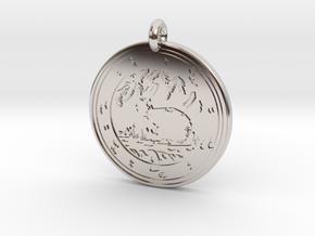 Cottontail Rabbit Animal Totem Pendant in Platinum