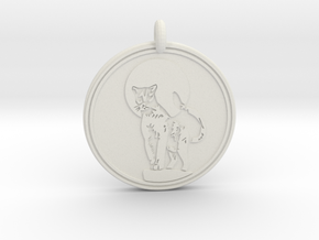 Cougar Animal Totem  Pendant  2 in White Natural Versatile Plastic