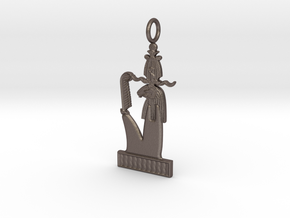 "Herishef (""Upon His Lake"" version) amulet in Polished Bronzed-Silver Steel"