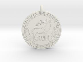 Elk Animal Totem Pendant in White Natural Versatile Plastic