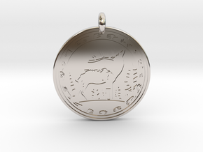 Elk Animal Totem Pendant in Rhodium Plated Brass