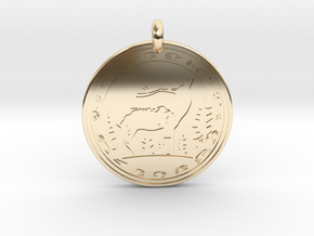 Elk Animal Totem Pendant in 14k Gold Plated Brass