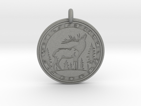 Elk Animal Totem Pendant in Gray PA12