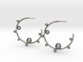 Planet Hoop Earrings  in Polished Silver
