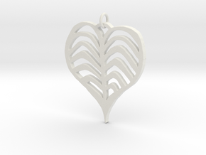 Rib cage Heart Pendant in White Natural Versatile Plastic