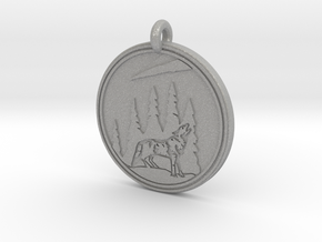 Grey Wolf Animal Totem  Pendant in Aluminum