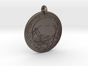 Hedgehog Animal Totem Pendant in Polished Bronzed-Silver Steel